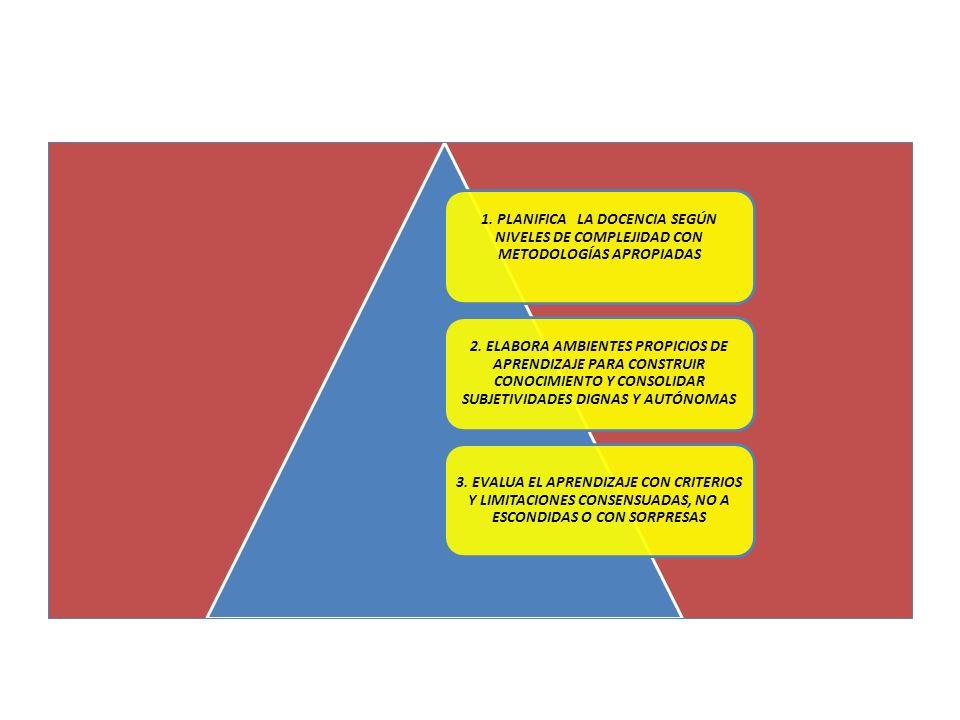 1. PLANIFICA LA DOCENCIA SEGÚN NIVELES DE COMPLEJIDAD CON METODOLOGÍAS APROPIADAS 2. ELABORA AMBIENTES PROPICIOS DE APRENDIZAJE PARA CONSTRUIR CONOCIM