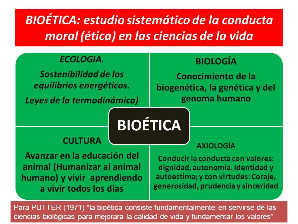 CONOCIMIENTO DE LA BIOETICA Y LAS DISTINTAS CIENCIAS DE LA VIDA PARA CONTRIBUIR A LA SOSTENIBILIDAD DE LA VIDA Y DE LA EXISTENCIA DEL PLANETA Y DE LA