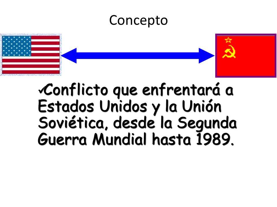 Conflicto que enfrentará a Estados Unidos y la Unión Soviética, desde la Segunda Guerra Mundial hasta 1989. Conflicto que enfrentará a Estados Unidos