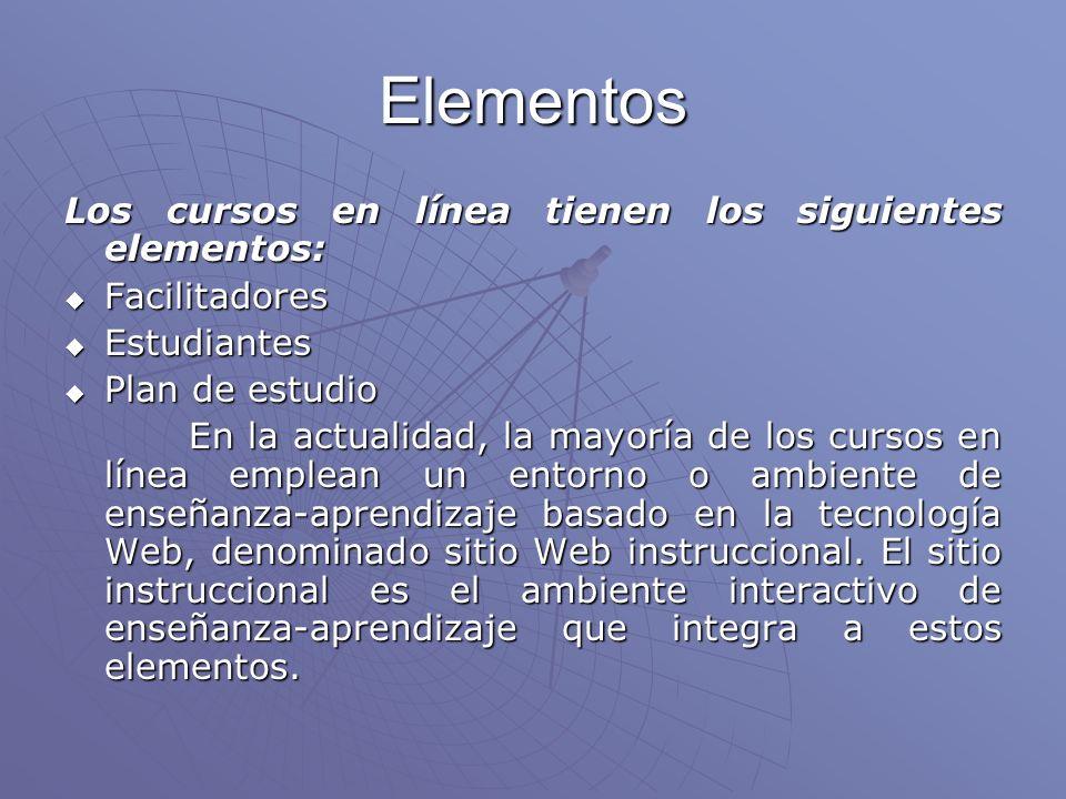 Elementos Los cursos en línea tienen los siguientes elementos: Facilitadores Facilitadores Estudiantes Estudiantes Plan de estudio Plan de estudio En la actualidad, la mayoría de los cursos en línea emplean un entorno o ambiente de enseñanza-aprendizaje basado en la tecnología Web, denominado sitio Web instruccional.