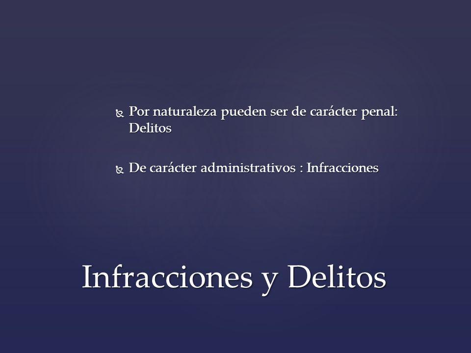 Por naturaleza pueden ser de carácter penal: Delitos Por naturaleza pueden ser de carácter penal: Delitos De carácter administrativos : Infracciones D
