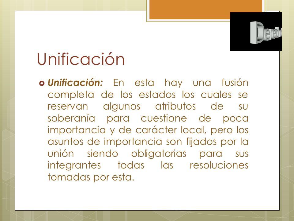 Unificación Unificación: En esta hay una fusión completa de los estados los cuales se reservan algunos atributos de su soberanía para cuestione de poc