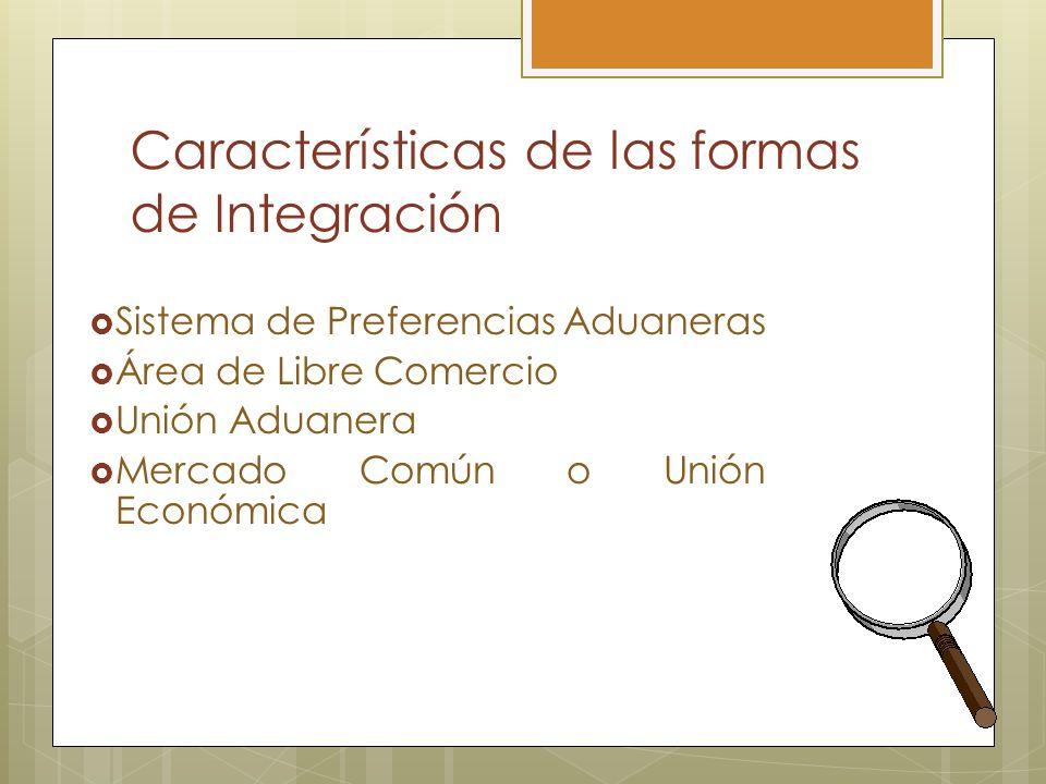 Características de las formas de Integración Sistema de Preferencias Aduaneras Área de Libre Comercio Unión Aduanera Mercado Común o Unión Económica