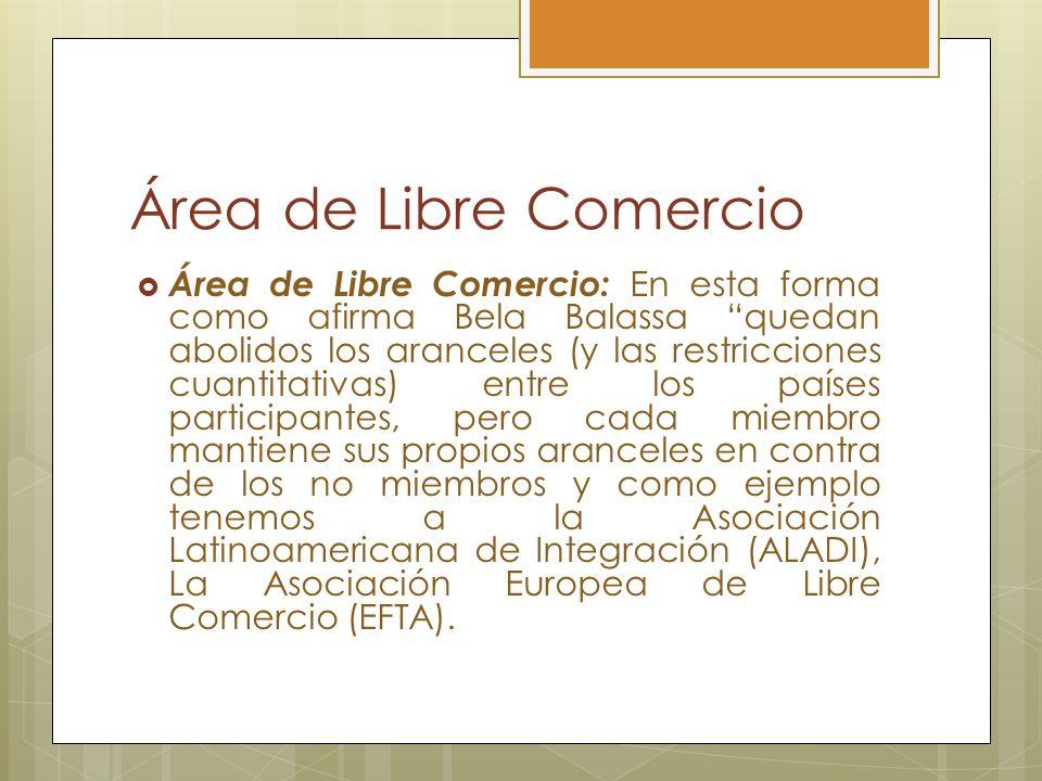 Área de Libre Comercio Área de Libre Comercio: En esta forma como afirma Bela Balassa quedan abolidos los aranceles (y las restricciones cuantitativas