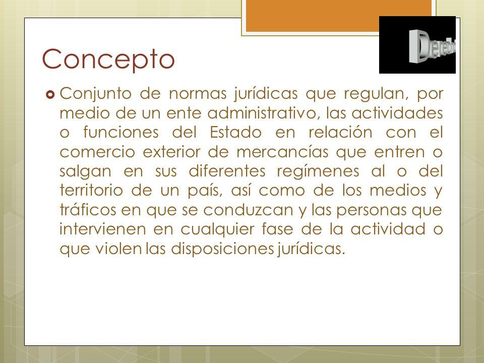 Concepto Conjunto de normas jurídicas que regulan, por medio de un ente administrativo, las actividades o funciones del Estado en relación con el come