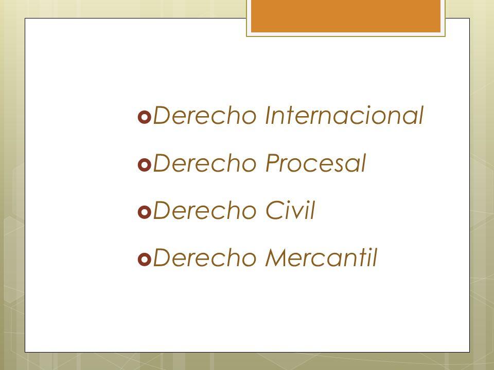 Derecho Internacional Derecho Procesal Derecho Civil Derecho Mercantil