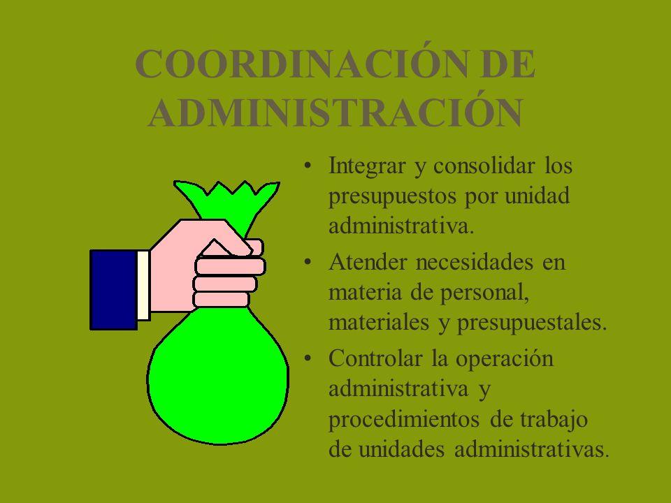 COORDINACIÓN DE ADMINISTRACIÓN Integrar y consolidar los presupuestos por unidad administrativa. Atender necesidades en materia de personal, materiale