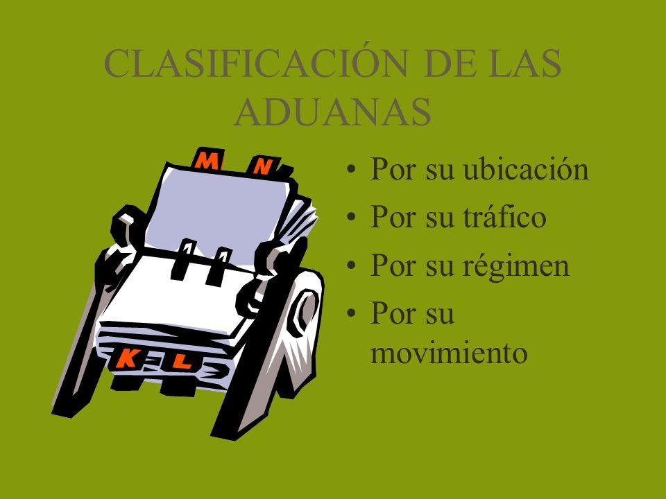 CLASIFICACIÓN DE LAS ADUANAS Por su ubicación Por su tráfico Por su régimen Por su movimiento
