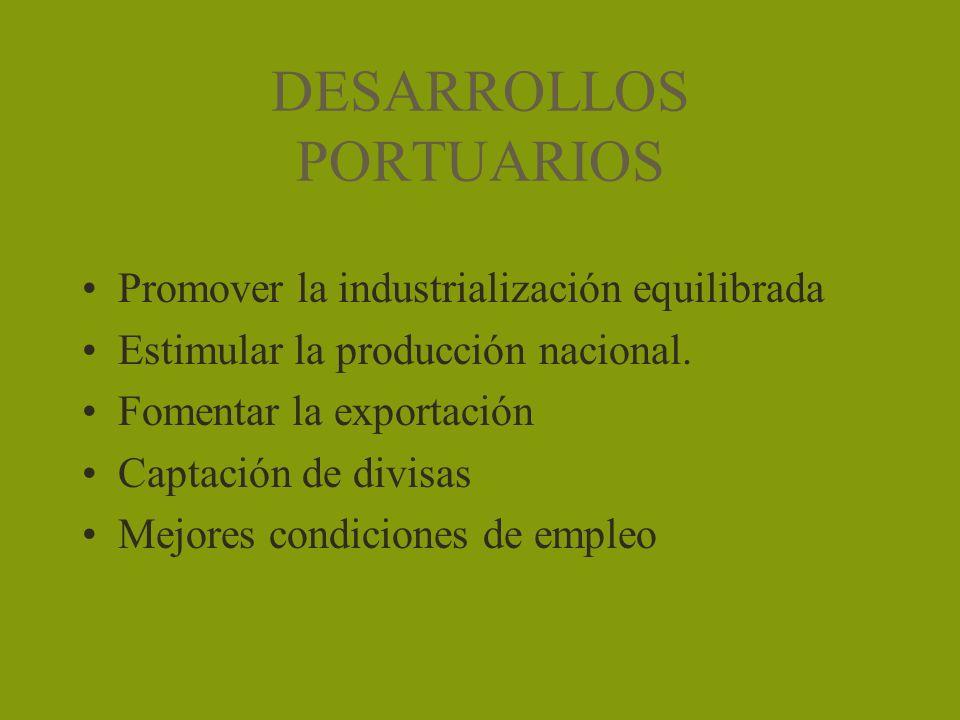 DESARROLLOS PORTUARIOS Promover la industrialización equilibrada Estimular la producción nacional. Fomentar la exportación Captación de divisas Mejore