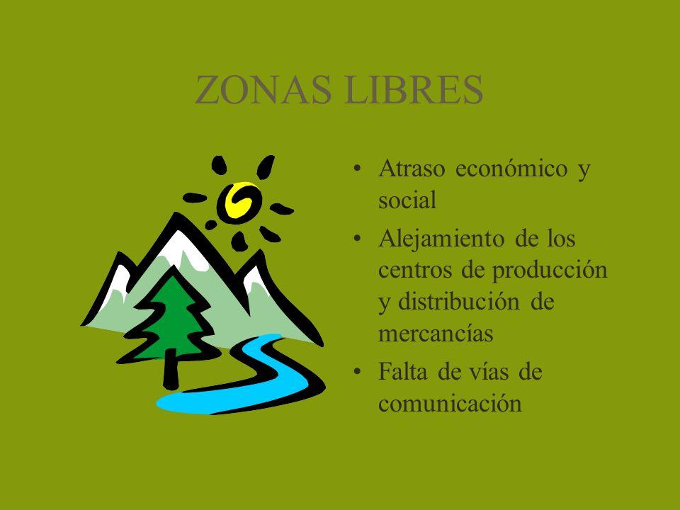 ZONAS LIBRES Atraso económico y social Alejamiento de los centros de producción y distribución de mercancías Falta de vías de comunicación