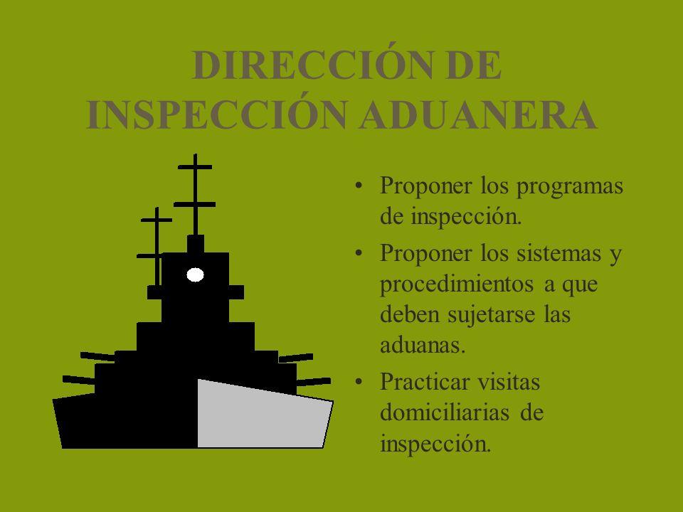 DIRECCIÓN DE INSPECCIÓN ADUANERA Proponer los programas de inspección. Proponer los sistemas y procedimientos a que deben sujetarse las aduanas. Pract