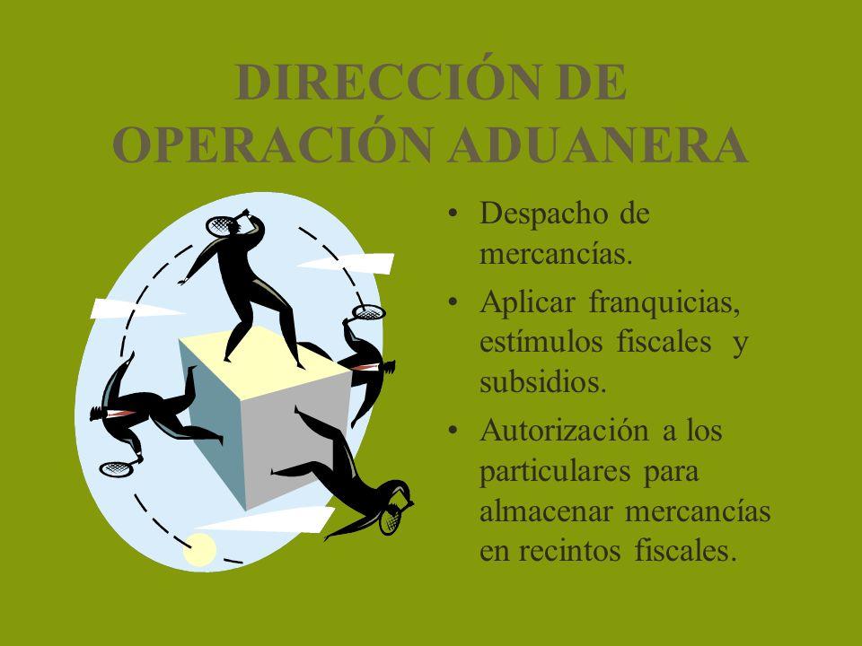 DIRECCIÓN DE OPERACIÓN ADUANERA Despacho de mercancías. Aplicar franquicias, estímulos fiscales y subsidios. Autorización a los particulares para alma