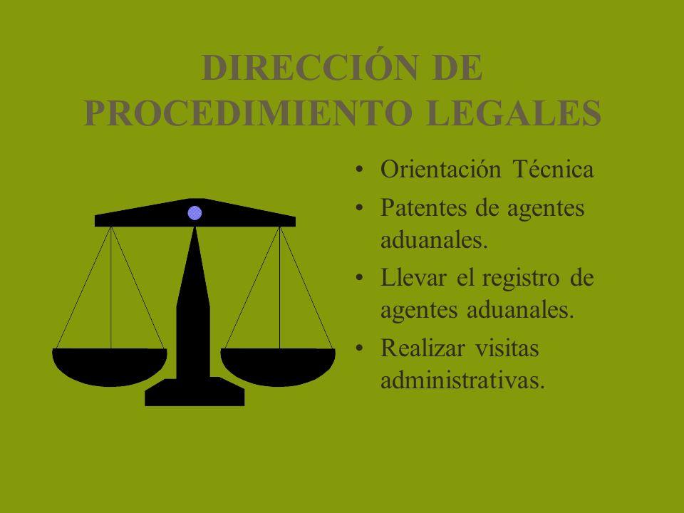 DIRECCIÓN DE PROCEDIMIENTO LEGALES Orientación Técnica Patentes de agentes aduanales. Llevar el registro de agentes aduanales. Realizar visitas admini