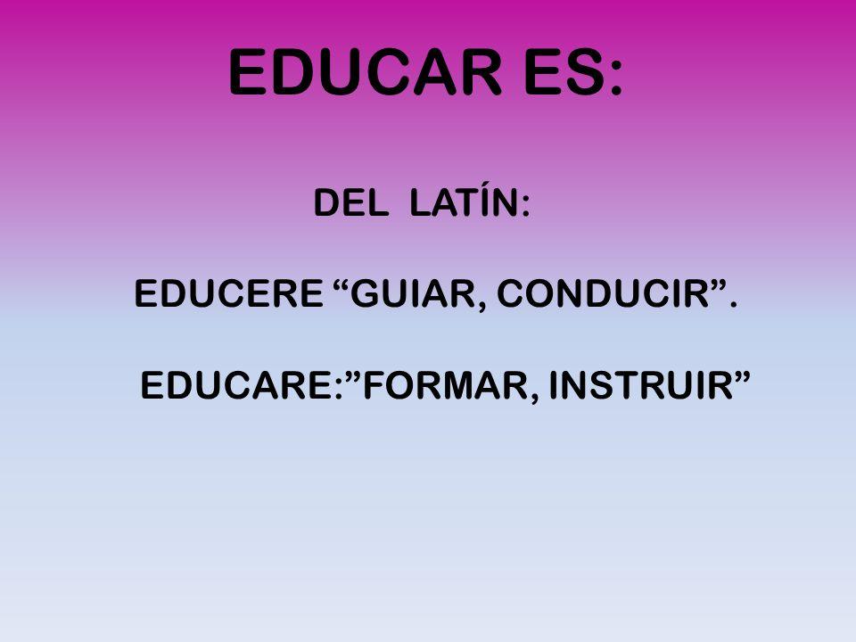 EDUCAR ES: DEL LATÍN: EDUCERE GUIAR, CONDUCIR. EDUCARE:FORMAR, INSTRUIR