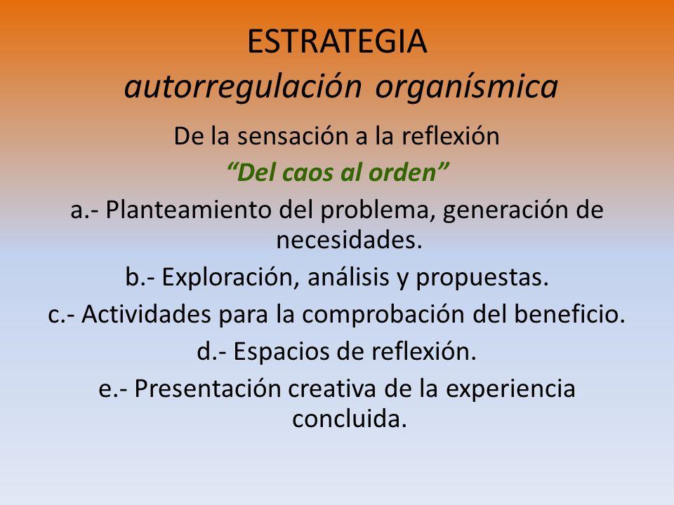 ESTRATEGIA autorregulación organísmica De la sensación a la reflexión Del caos al orden a.- Planteamiento del problema, generación de necesidades. b.-