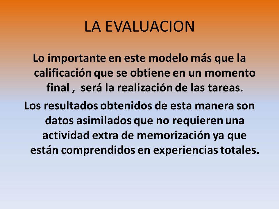 LA EVALUACION Lo importante en este modelo más que la calificación que se obtiene en un momento final, será la realización de las tareas. Los resultad