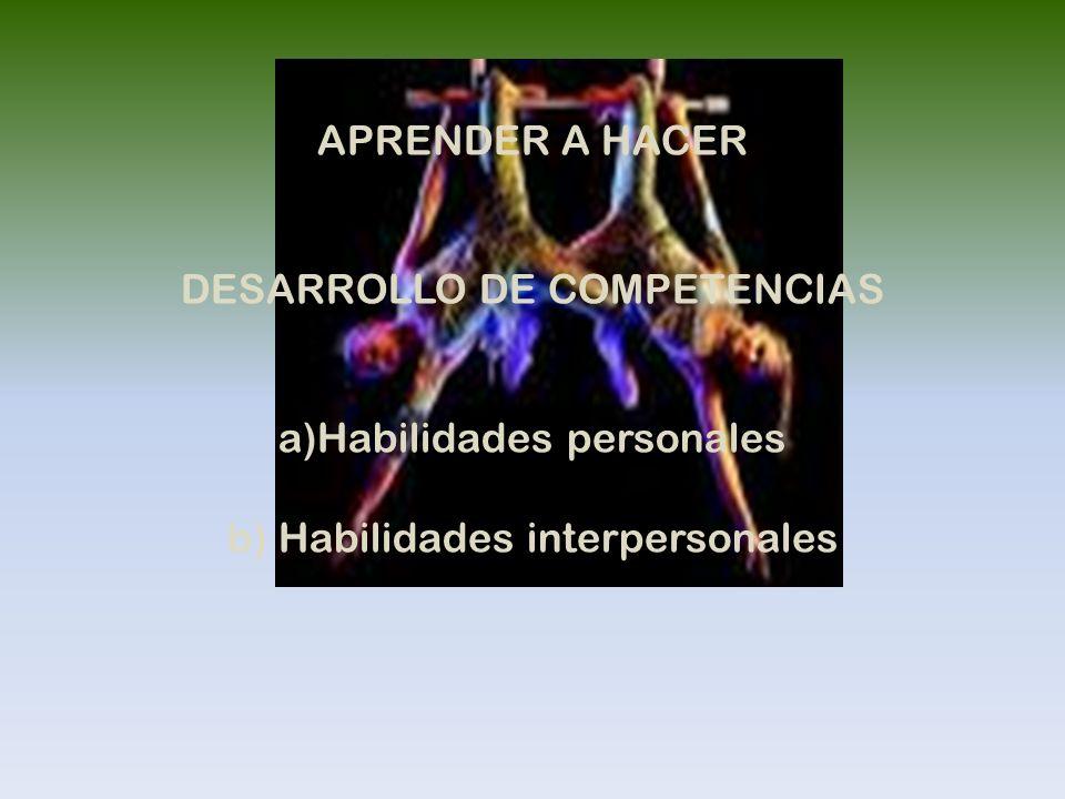 APRENDER A HACER DESARROLLO DE COMPETENCIAS a)Habilidades personales b) Habilidades interpersonales