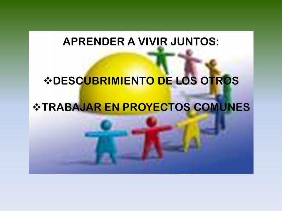 APRENDER A VIVIR JUNTOS: DESCUBRIMIENTO DE LOS OTROS TRABAJAR EN PROYECTOS COMUNES