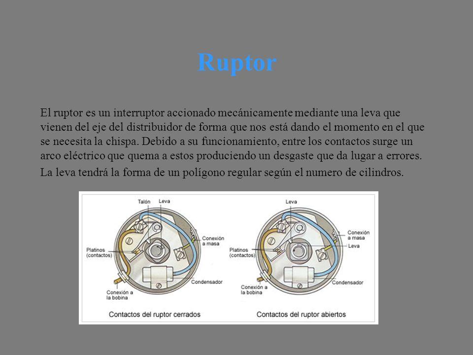 Ruptor El ruptor es un interruptor accionado mecánicamente mediante una leva que vienen del eje del distribuidor de forma que nos está dando el momento en el que se necesita la chispa.