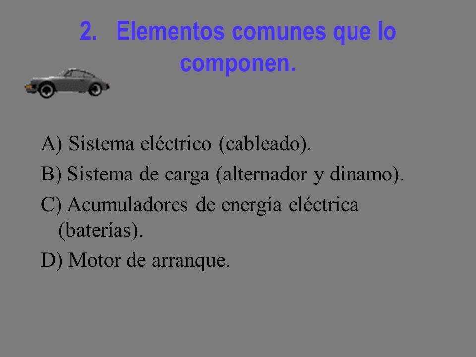 2.Elementos comunes que lo componen. A) Sistema eléctrico (cableado).
