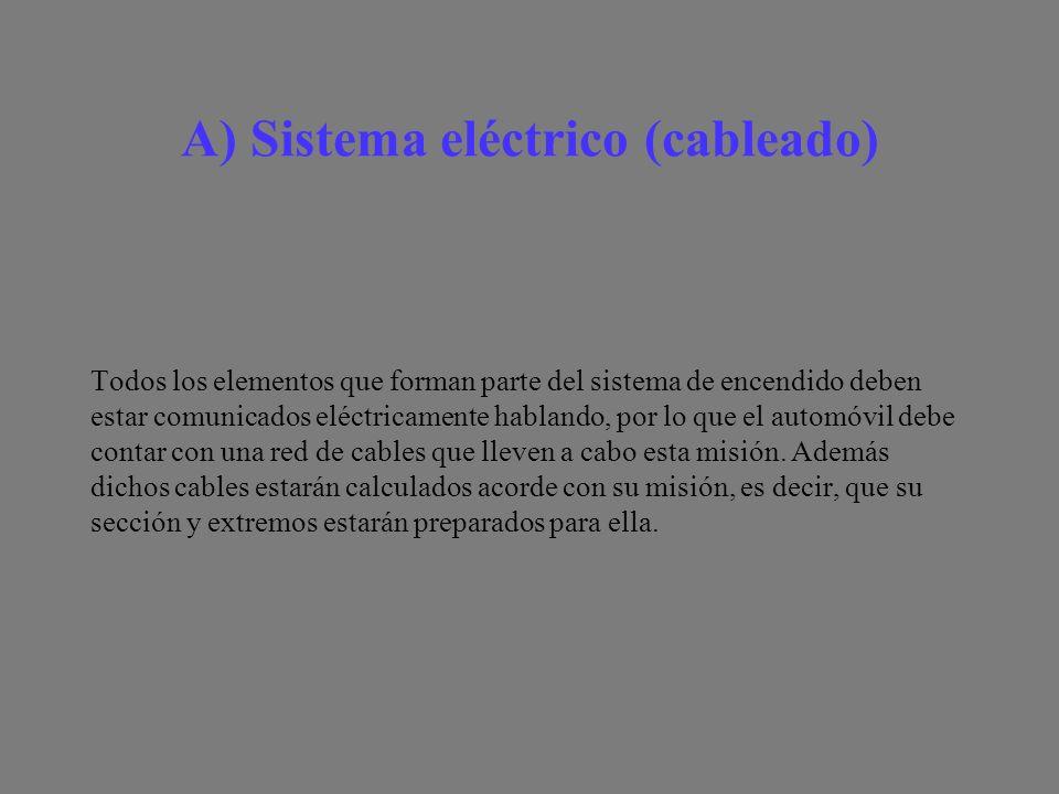 A) Sistema eléctrico (cableado) Todos los elementos que forman parte del sistema de encendido deben estar comunicados eléctricamente hablando, por lo que el automóvil debe contar con una red de cables que lleven a cabo esta misión.