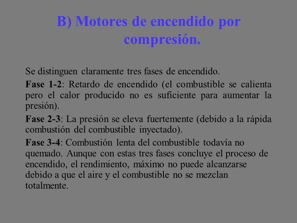 B) Motores de encendido por compresión.Se distinguen claramente tres fases de encendido.