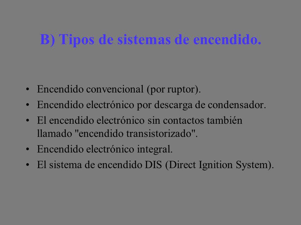 B) Tipos de sistemas de encendido.Encendido convencional (por ruptor).