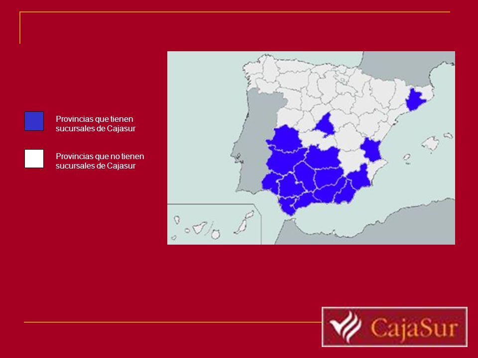 Provincias que tienen sucursales de Cajasur Provincias que no tienen sucursales de Cajasur