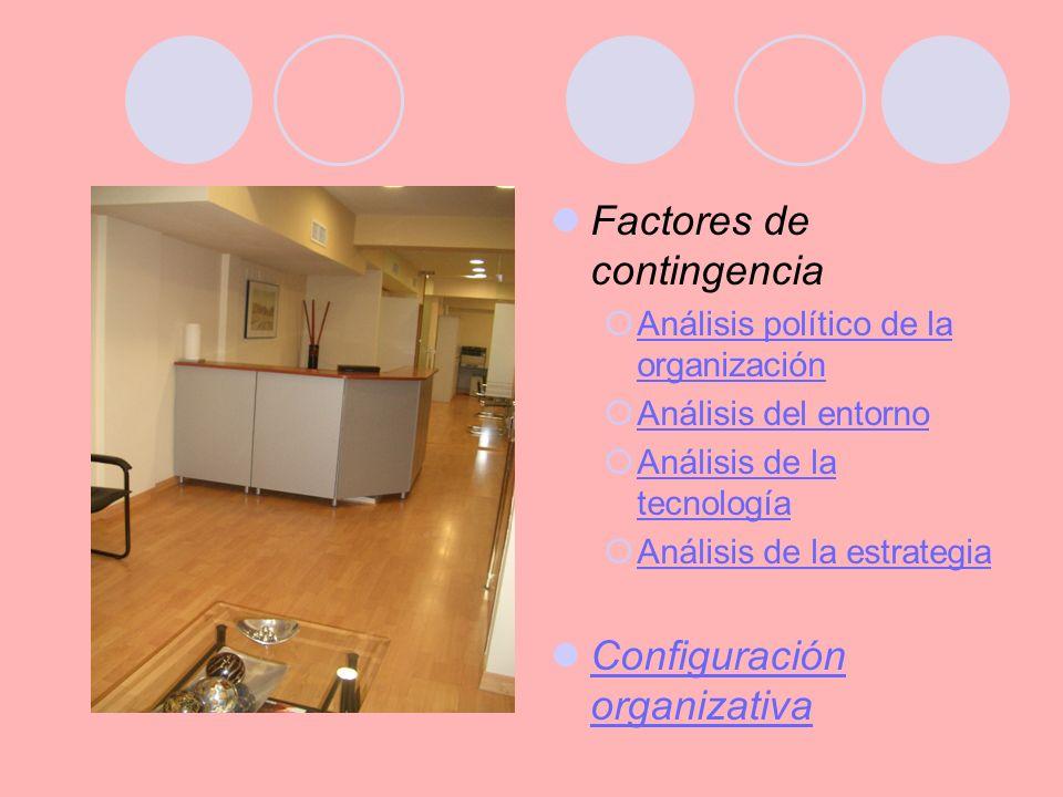 Factores de contingencia Análisis político de la organización Análisis político de la organización Análisis del entorno Análisis de la tecnología Análisis de la tecnología Análisis de la estrategia Configuración organizativa Configuración organizativa