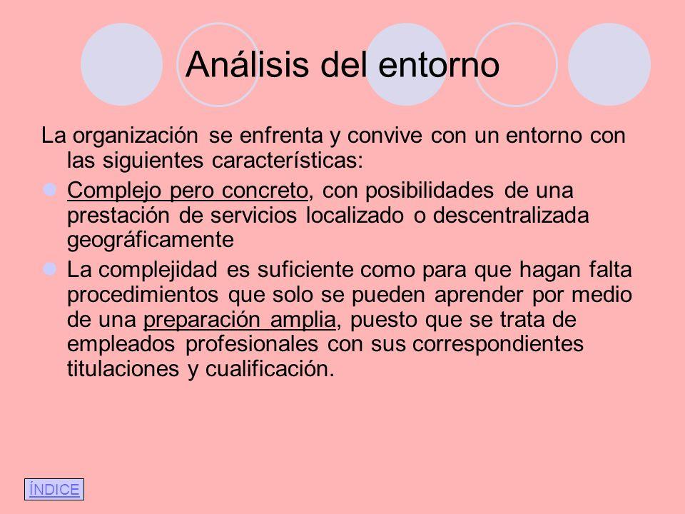 Análisis del entorno La organización se enfrenta y convive con un entorno con las siguientes características: Complejo pero concreto, con posibilidade