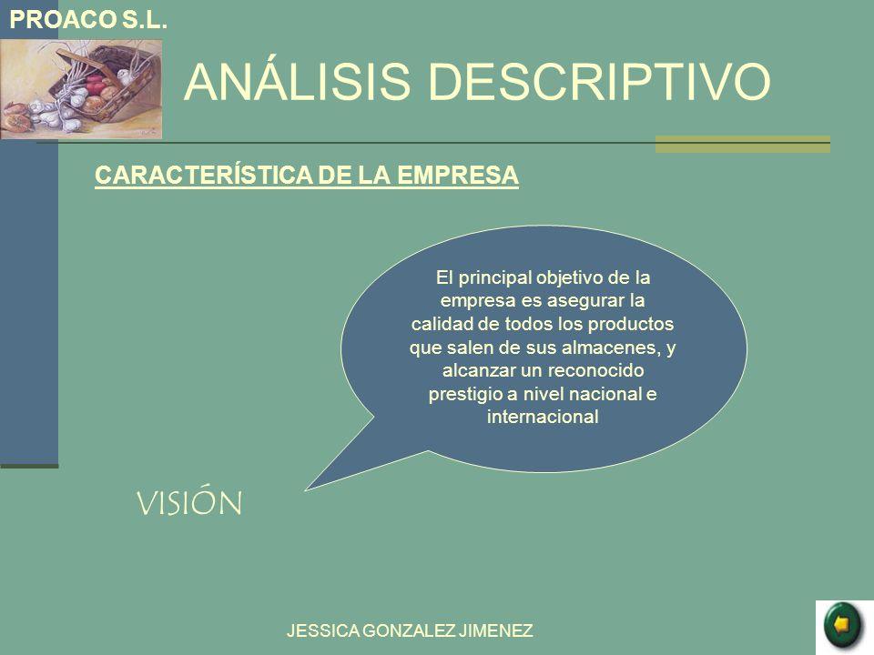 ANÁLISIS DESCRIPTIVO CARACTERÍSTICA DE LA EMPRESA VISIÓN JESSICA GONZALEZ JIMENEZ El principal objetivo de la empresa es asegurar la calidad de todos