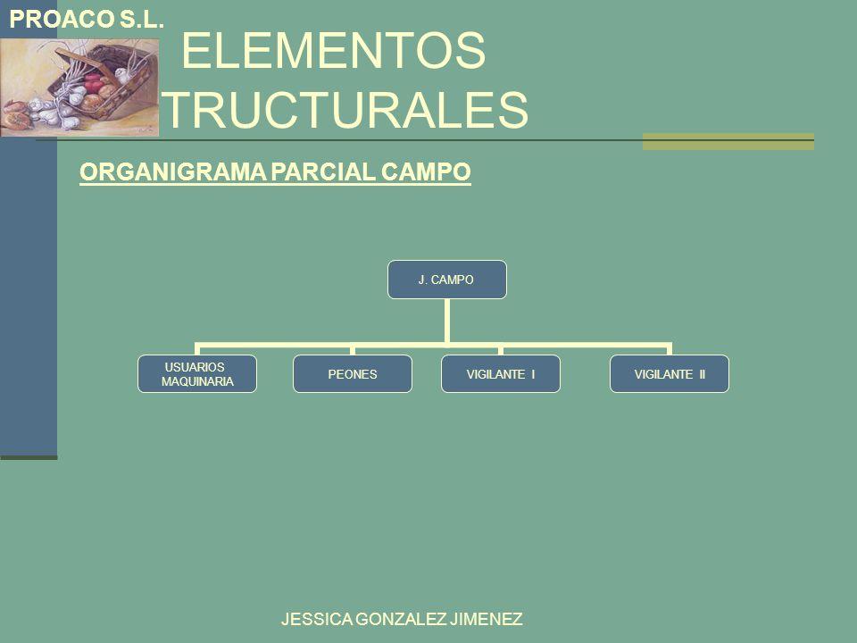 ELEMENTOS ESTRUCTURALES PROACO S.L. JESSICA GONZALEZ JIMENEZ ORGANIGRAMA PARCIAL CAMPO J. CAMPO PEONESVIGILANTE IVIGILANTE II USUARIOS MAQUINARIA
