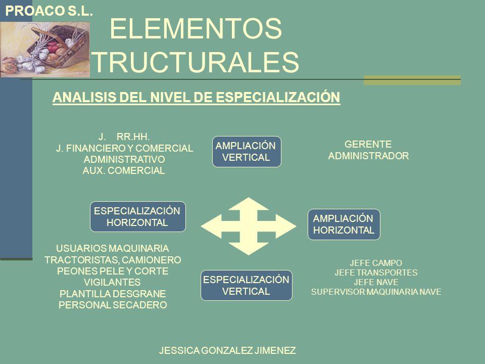 ELEMENTOS ESTRUCTURALES ANALISIS DEL NIVEL DE ESPECIALIZACIÓN JESSICA GONZALEZ JIMENEZ PROACO S.L. ESPECIALIZACIÓN HORIZONTAL ESPECIALIZACIÓN VERTICAL