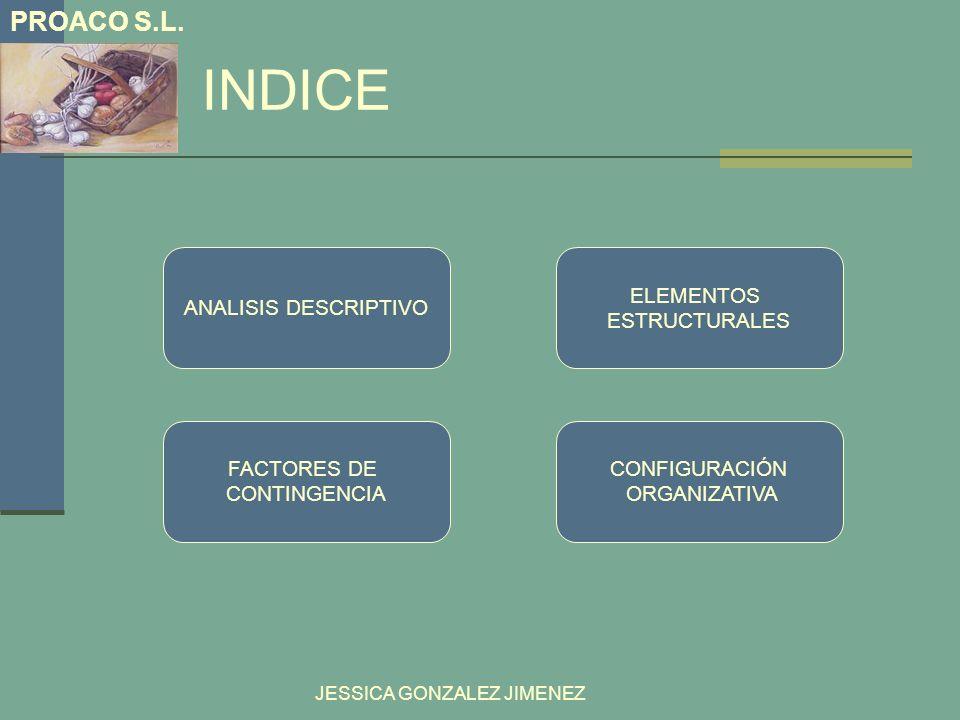 INDICE PROACO S.L. JESSICA GONZALEZ JIMENEZ ELEMENTOS ESTRUCTURALES ANALISIS DESCRIPTIVO CONFIGURACIÓN ORGANIZATIVA FACTORES DE CONTINGENCIA