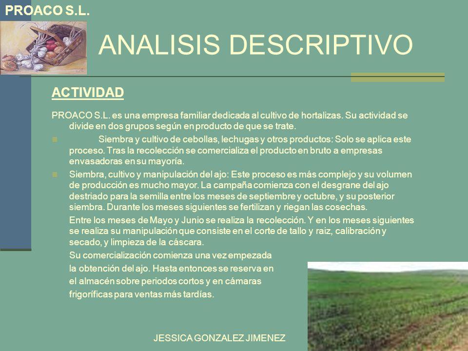 ANÁLISIS DESCRIPTIVO JESSICA GONZALEZ JIMENEZ PROACO S.L es actualmente una empresa familiar cuya misión es llegar a ser una de las principales productoras de ajos con denominación de orígen español.