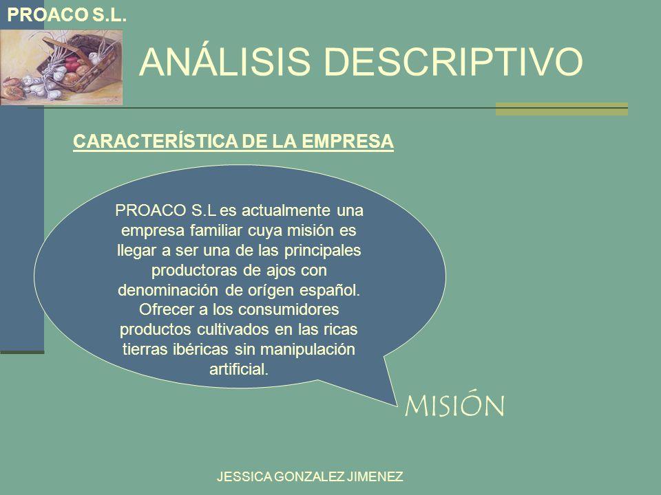 ANÁLISIS DESCRIPTIVO JESSICA GONZALEZ JIMENEZ PROACO S.L es actualmente una empresa familiar cuya misión es llegar a ser una de las principales produc