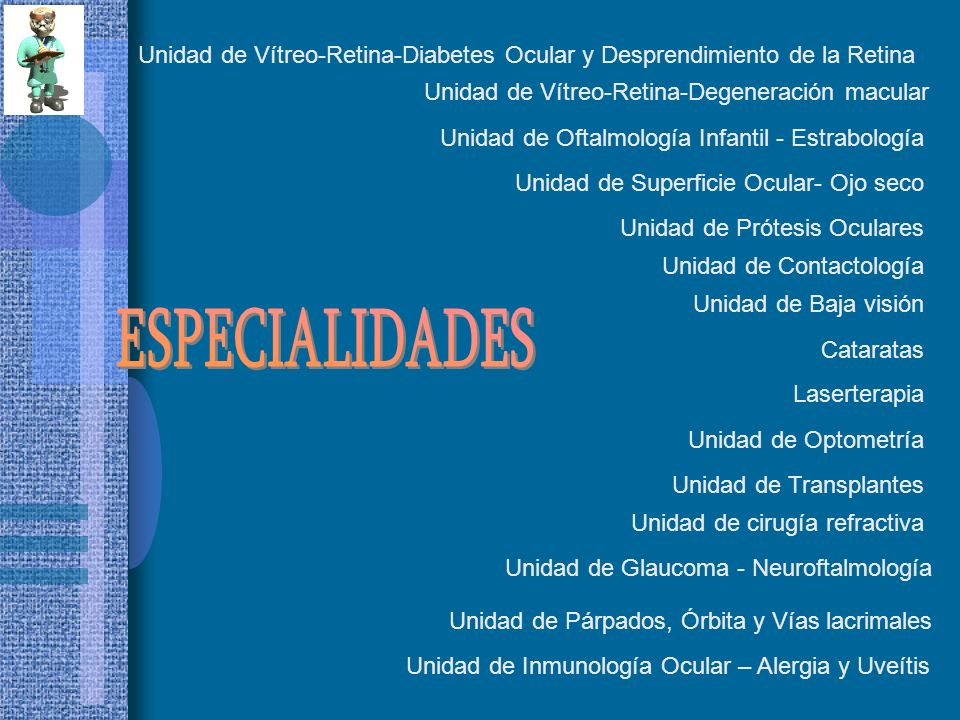 Cataratas Unidad de cirugía refractiva Unidad de Vítreo-Retina-Diabetes Ocular y Desprendimiento de la Retina Unidad de Vítreo-Retina-Degeneración mac