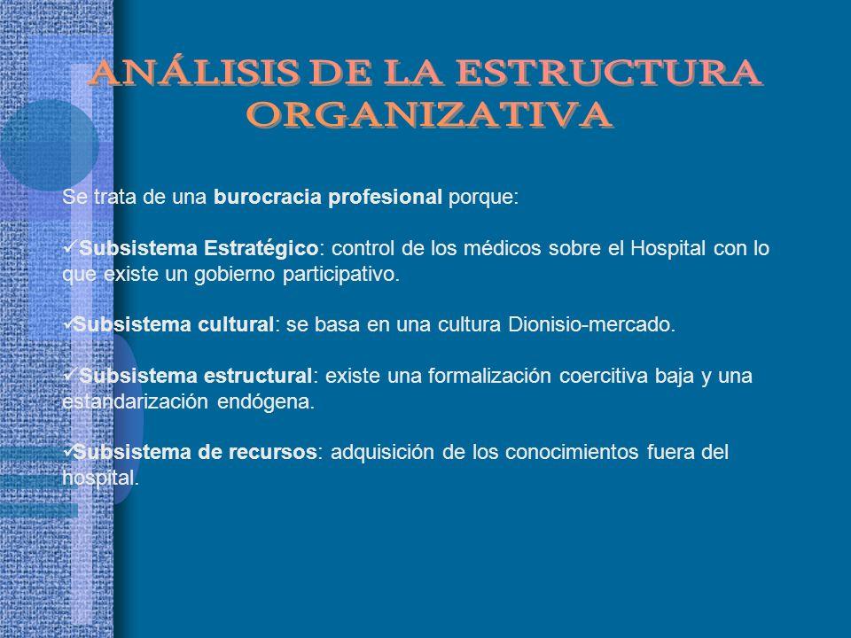 Se trata de una burocracia profesional porque: Subsistema Estratégico: control de los médicos sobre el Hospital con lo que existe un gobierno particip