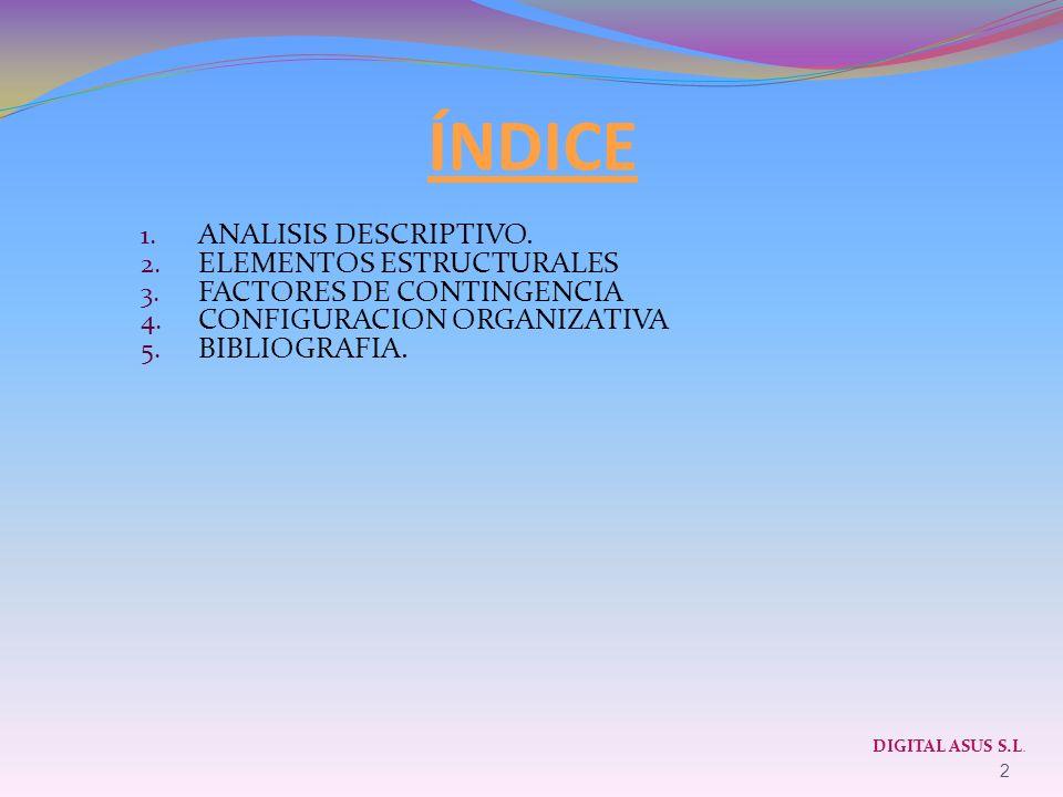 ÍNDICE 1. ANALISIS DESCRIPTIVO. 2. ELEMENTOS ESTRUCTURALES 3. FACTORES DE CONTINGENCIA 4. CONFIGURACION ORGANIZATIVA 5. BIBLIOGRAFIA. 2 DIGITAL ASUS S