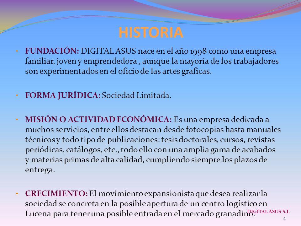 HISTORIA FUNDACIÓN: DIGITAL ASUS nace en el año 1998 como una empresa familiar, joven y emprendedora, aunque la mayoría de los trabajadores son experi