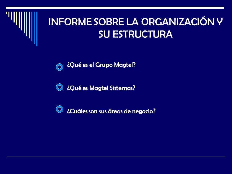 INFORME SOBRE LA ORGANIZACIÓN Y SU ESTRUCTURA ¿Qué es el Grupo Magtel? ¿Qué es Magtel Sistemas? ¿Cuáles son sus áreas de negocio?