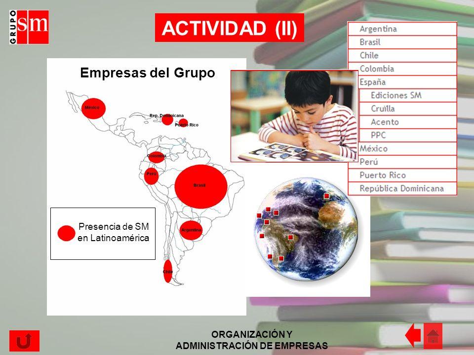 ORGANIZACIÓN Y ADMINISTRACIÓN DE EMPRESAS La actividad principal de esta empresa es mejorar la educación, acercarla al mayor número posible de niños,