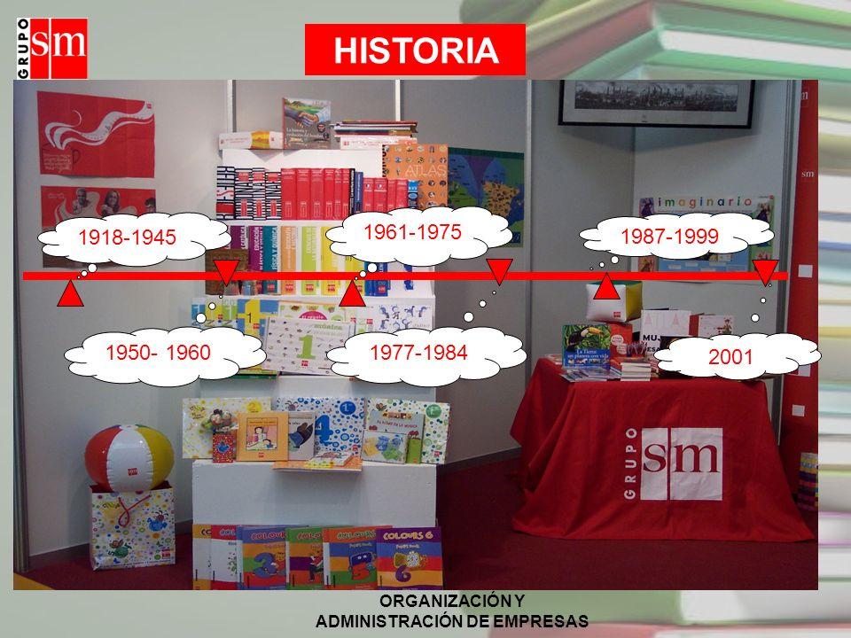ORGANIZACIÓN Y ADMINISTRACIÓN DE EMPRESAS CARACTERÍSTICAS (I) El Grupo SM es una organización fundada gracias a los religiosos marianistas de España que decidieron, en 1987, crear la Fundación SM y dotarla como capital fundacional con la empresa que existía cincuenta años antes, Ediciones SM.