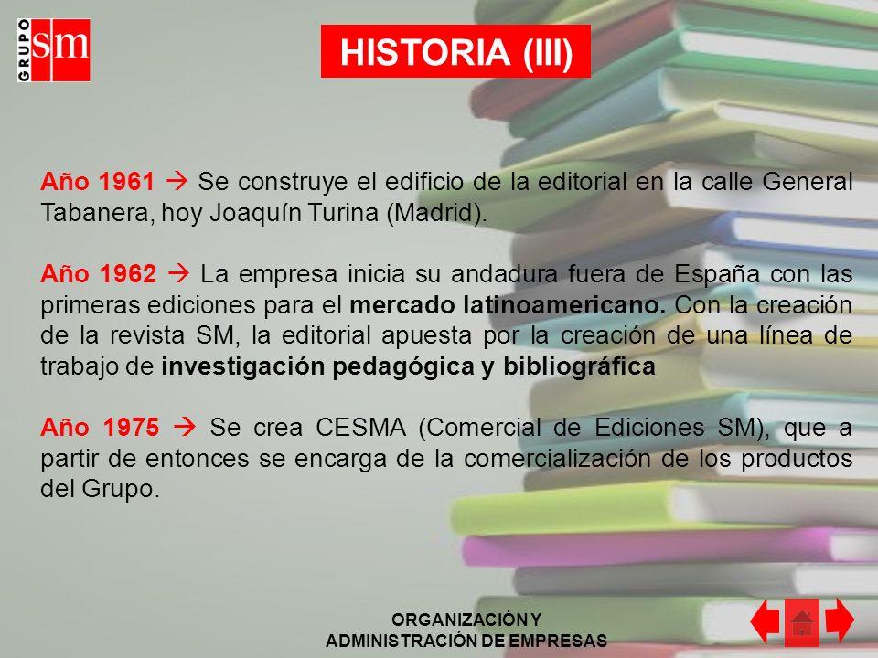 ORGANIZACIÓN Y ADMINISTRACIÓN DE EMPRESAS HISTORIA (III) Año 1961 Se construye el edificio de la editorial en la calle General Tabanera, hoy Joaquín Turina (Madrid).