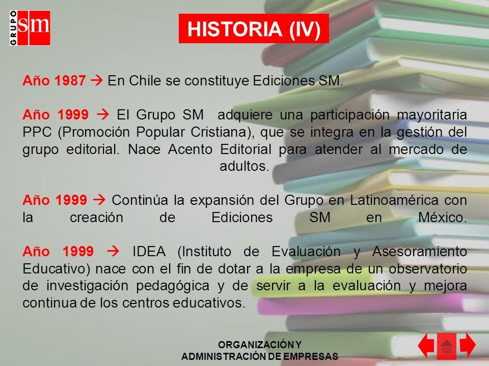 ORGANIZACIÓN Y ADMINISTRACIÓN DE EMPRESAS HISTORIA (V) Año 1977 Con la idea de devolver a la sociedad los beneficios empresariales de la editorial, se