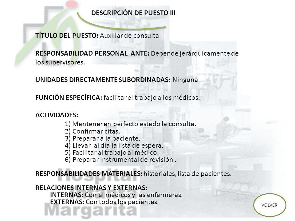 DESCRIPCIÓN DE PUESTO III TÍTULO DEL PUESTO: Auxiliar de consulta RESPONSABILIDAD PERSONAL ANTE: Depende jerárquicamente de los supervisores. UNIDADES