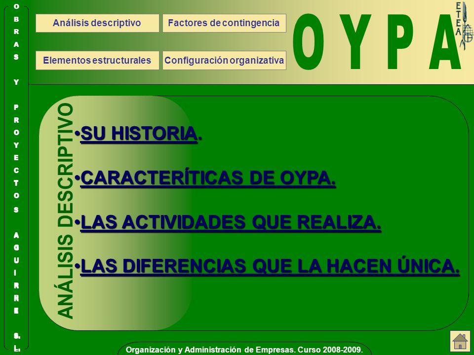Organización y Administración de Empresas. Curso 2008-2009.