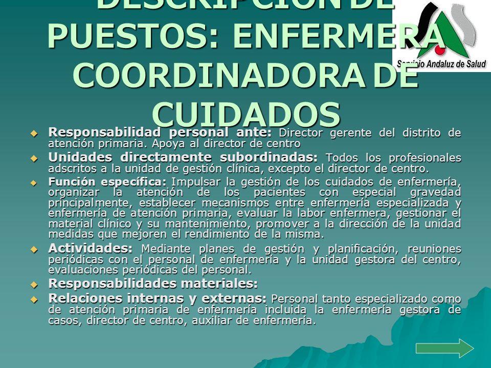 DESCRIPCIÓN DE PUESTOS: ENFERMERA COORDINADORA DE CUIDADOS Responsabilidad personal ante: Director gerente del distrito de atención primaria. Apoya al