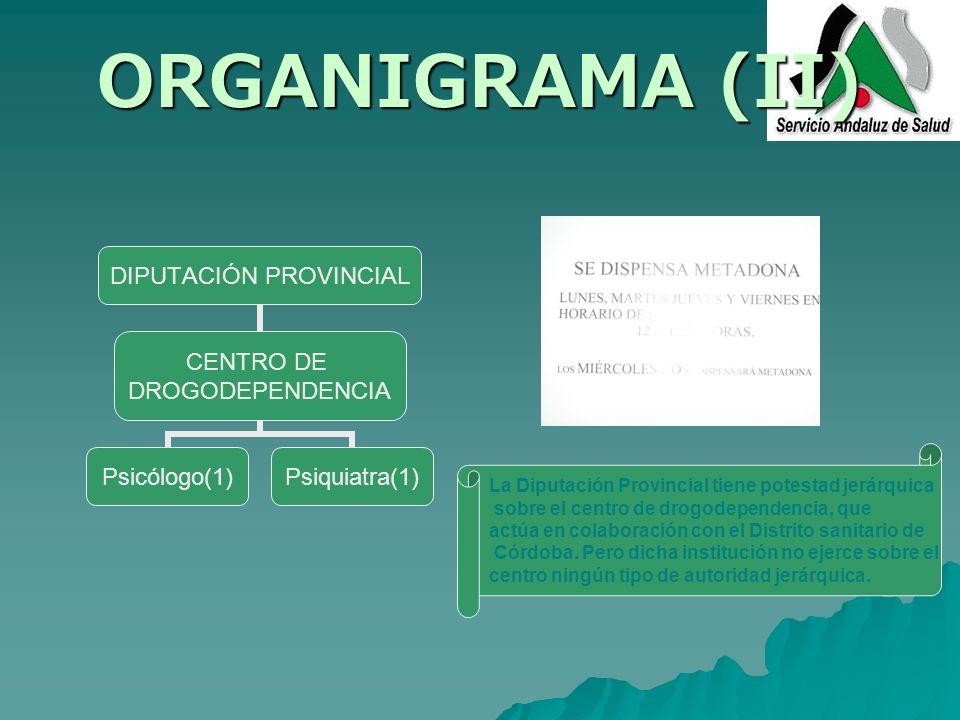 ORGANIGRAMA (II) DIPUTACIÓN PROVINCIAL CENTRO DE DROGODEPENDENCIA Psicólogo(1)Psiquiatra(1) La Diputación Provincial tiene potestad jerárquica sobre e