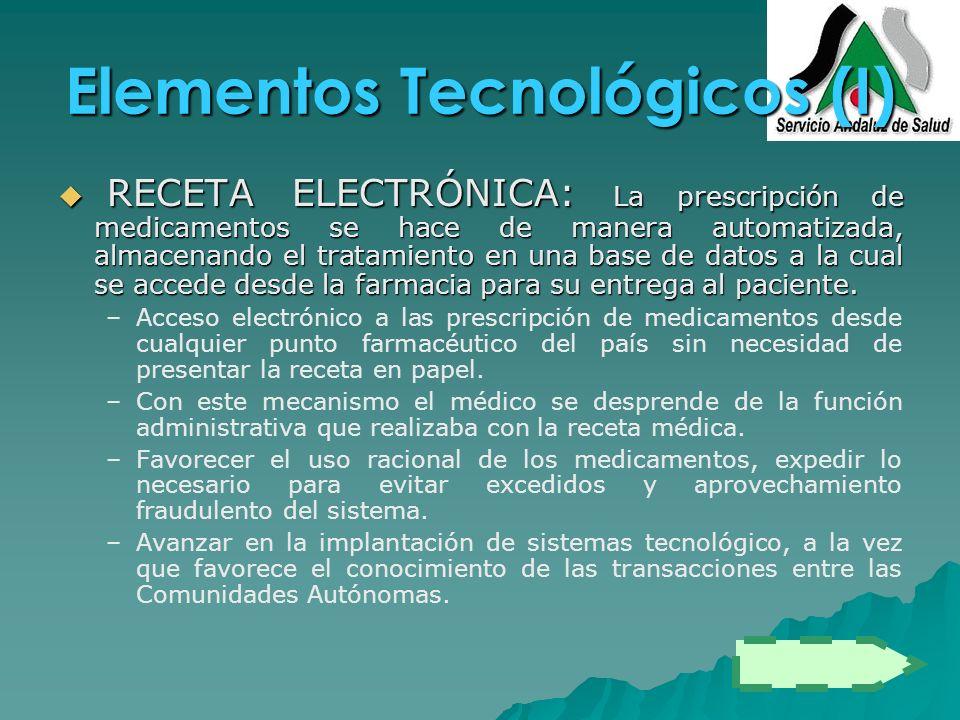 Elementos Tecnológicos (I) RECETA ELECTRÓNICA: La prescripción de medicamentos se hace de manera automatizada, almacenando el tratamiento en una base